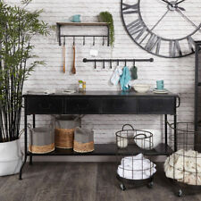 Large black painted metal 3 drawer console hall table retro industrial storage