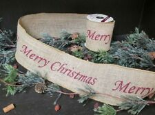 "Merry Christmas Wired BURLAP RIBBON 4"" x 6' holiday garland burgundy Farmhouse"