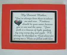 KIND Dear MOM MOTHER  Faith THANK GOD Advise LOVE CARE Guide verses poems plaque
