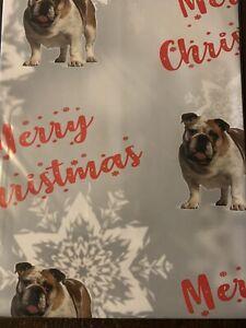 BRITISH BULLDOG PET MERRY CHRISTMAS PREMIUM GIFT WRAPPING PAPER 60cm