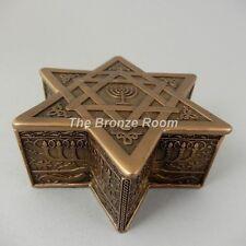Star of David and Menorah Bronze Trinket Keepsake Jewellery Box