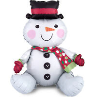 SITTING SNOWMAN Christmas BALLOON Air FiIl Only XMAS Decoration No Helium