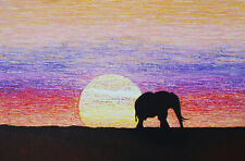 Large expressionist painting 'Save the Elephants' by Cliff Howard