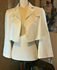 Ellen Tracy Ivory white bolero shrug open crop evening party jacket small size 6