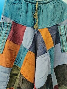 Nepalese patchwork funky Hippy handmade oversize comfy baggy Cotton trouser.