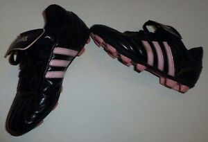 Youth Girls Adidas TRX HG Hard Ground Soccer Cleats Size 1 Pink & Black Shoes