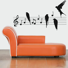 Wall Vinyl Sticker Decals Mural Room Design Art Notes Melody Birds Music bo292