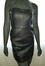 Ladies size Medium/8 Black Strapless Body Con PU Faux Leather Dress - ICE