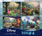 New Thomas Kinkade Disney 4 in 1 Jigsaw Puzzle 500 piece Cinderella Mickey