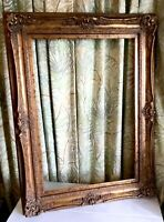 "Vintage Ornate Large Gold Gilded Wood 34x47"" Picture Frame Fits 24x36 Rectangle"