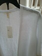 NWT Eileen Fisher White Organic Linen Knit Texture Elbow Sleeve Cardigan 1X $218