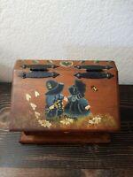 Vintage Handpainted Wood Recipe Box Index Folk Art Country Homemade