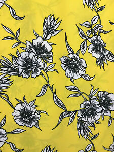 Yellow floral design poly crepe dress fabric