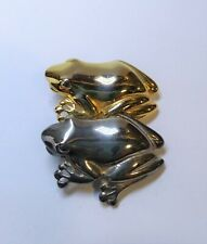 "Vintage 2 Frogs Pin / Brooch Gold & Silver Tone Metal Costume Jewelry 1.5"" Long"