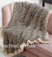 (625) Blanket Throw Copy Knitting Pattern, Beautiful Design in Aran Velvet yarn