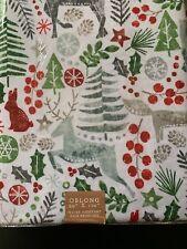 Arctic Holiday Woodland Animals Tablecloth Indoor/Outdoor Trees Berries Deer Fox