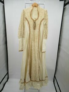 H1684 VTG Women's Long Sleeve Corset Laced Bust Empire Waist Maxi Dress Size 14