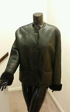 Gucci Vintage 70's Rare Womans Leather Jacket with 100% Shearling Liner Size 42