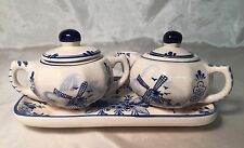 Beautiful Vintage Delft Blue 5 pc Creamer Sugar Tray Set WINDMILL Floral NEW