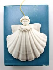 1983 vintage Margaret Furlong Shell Angel & Holly Berry Porcelain Ornament
