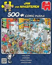 JUMBO JIGSAW PUZZLE CANDY FACTORY JAN VAN HAASTEREN 500 PCS #19025 CARTOON COMIC