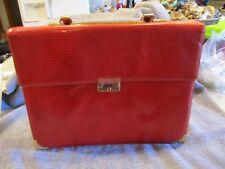 Vintage CHIC de PARIS Satchel In Red Alligator look & Leather/Silk Interior