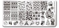 Christmas Celebration Design Nail Art Stamping Stainless Steel Template Stencil