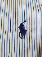 NEW Polo Ralph Lauren Dress Shirt 16.5 x 32/33 Blue White Stripe Spread Collar