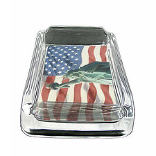 "American Flag D20 Glass Square Ashtray 4"" x 3"" Smoking Cigarette"
