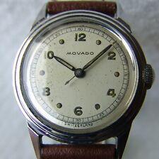VINTAGE men's MOVADO steel MILITARY WRISTWATCH WWII ERA good condition