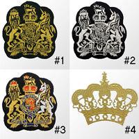 #946R UK Royal Coat Of Arms Crown Crest Flag Emblem Logo Sew Iron On Badge Patch