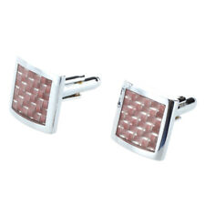 Sunny 2 Silver Brown Colour Square Cufflinks in Alloy Man Wedding B4m7 S4x8