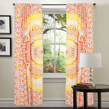 Curtain Mandala Curtains Bohemian Decor Ombre Red Gold Indian Panel Room Divider