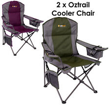 2 x Oztrail Cooler (Purple & Green) Folding Camping Picnic Arm Chair Executive