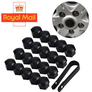 20x 17MM ALLOY WHEEL NUT BOLT COVERS CAPS UNIVERSAL SET BLACK FOR ANY CAR UK