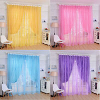 Rose Voile Blackout Curtains Living Room Window Curtains Tulle Sheer Curtains FT