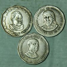 REPUBLIC INDIA LEADERS 2 RUPEE COINS - RARE COMMEMORATIVE COINS - 3 COINS