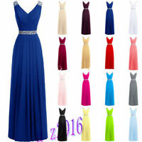 Plus Size 6-30 New Long Chiffon Prom Bridesmaid Dress Party Evening Formal Gown