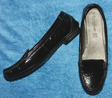 M&S FootGlove Black Patent Leather Round Toe Flat Loafer Shoes - Size UK 5.5