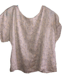Women's Cynthia Rowley 100 % linen top blouse button up back size large