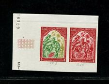 Monaco 1969 Red Cross Art Churches Scott 721 Trial Color Proof Strip of 2