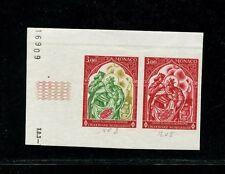 Monaco 1969 Red Cross Art Churches Scott 721 Trial Color Proof Strip of 2