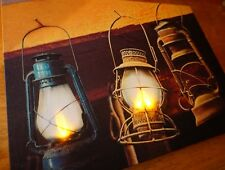 Lighted Flicker Flame HANGING CABIN LODGE CAMPING BARN LANTERNS Home Decor Sign