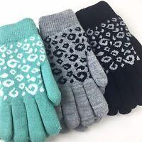 Warm Leopard Animal Print Fleece Lined Winter Gloves