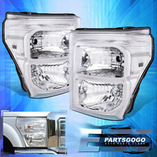 11-16 Ford F250 F350 F450 Superduty Chrome Housing Headlight Clear Reflector