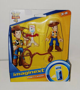 FISHER PRICE DISNEY PIXAR  IMAGINEXT TOY STORY 4 SHERIFF WOODY & FORKY FIGURES