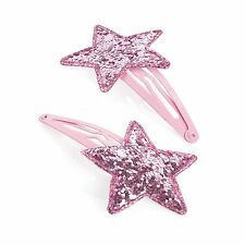 2x GLITTER HAIR CLIPS GIRLS WOMENS HAIR SNAP CLIP BENDIES SLEEPIES STAR HAIRCLIP