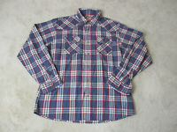 Wrangler Pearl Snap Shirt Adult Extra Large Blue Red Plaid Western Cowboy Men