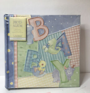 """Baby Boy Photo Album Scrapbook Holds 200 4x6"""" Embroidered Cloth CR Gibson NEW"""