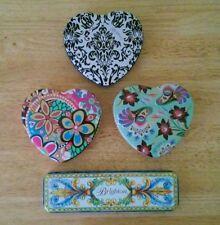 Lot of 4 Brighton Tins Hearts Watch Floral Black White Jewelry Box Rectangular